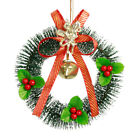 Christmas Wreath Ring Bell Red Berries Hanging Garland for Holiday and New Year