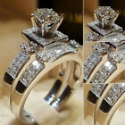 New Womens Ladies Crystal Bling Engagement Silver Rings Wedding Jewelry Set Uk