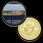 U.S. United States Navy | USS Ogden LPD-5 | Military Gold Plated Challenge Coin