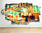 BB463 Beer tap Pints Alcohol Bar  Smashed Wall Decal 3D Art Stickers Vinyl Room