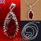 Crystal Topaz Necklace Sterling Silver Chain Pendant Womens Jewellery Gift New