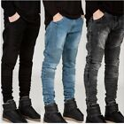 MENS BIKER DENIM JEANS SLIM FIT MICRO STRETCH STYLE 3 COLOURS STREETWEAR