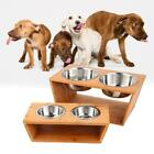 Dog Cat Pet Elevated Feeder Double Bowl Raised Stand with Two Stainless AGSG 01