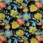 Essentials Outdoor Black Blue Red Lime Yellow Floral Upholstery Fabric / Miami