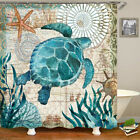 Sea Turtle Bathroom Polyester Shower Curtain Non Slip Toilet Cover Rug Mats Set
