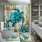 Sea Turtles Bathroom Polyester Shower Curtain Non Slip Toilet Cover Rugs Mat Set