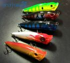 5ps 10cm 12g Popper Fishing Lure Hard Bait Top Water Fishing Tackle Plastic Lure