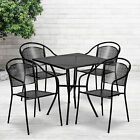 """Commercial Grade 28"""" Square Metal Garden Patio Table Set W/ 4 Round Back Chairs"""