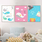 Cartoon Fish whale Cat Canvas Poster Nursery Print Modern Wall Decor for Kids