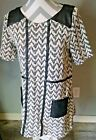 Anthrpologie Woman's Dress Size Small Black & White with Black Vegan Leather Det