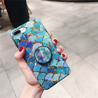 NEW! Laser Holo Mermaid Scale Case for iPhone 6 7 8 Plus X Max Pop Up Grip Mount