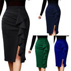 Womens Ruched Ruffle High Waist Work Office Business Cocktail Party Pencil Skirt