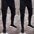 Mens Slim Fit Urban Straight Leg Trousers Casual Pencil Jogger Cargo Pants Jeans