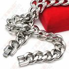 150g Heavweight Stainless Steel Smooth Cuban Chain Necklace 15mm 24'' Mens gifts