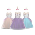 DH Girls Unicorn Princess Costume Pageant Party Birthday Dress with Headband