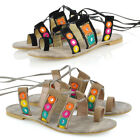 New Womens Strap Flat Lace Up Ladies Shoes Beach Gladiator Sandals Size