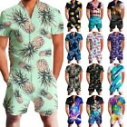 Men 3D Print One Piece Jumpsuit Zip Short Sleeve Pants Rompers Overalls Playsuit
