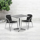 """27.5"""" Square Aluminum Garden Patio Table Set With 2 Rattan Chairs"""