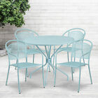 """Commercial 35.25"""" Round Metal Garden Patio Table Set W/ 4 Round Back Chairs"""