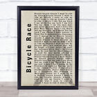Bicycle Race Shadow Song Lyric Quote Print