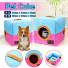 Pet Dog Cat Bed House Portable Kennel Doggy Cube Cave Nest Cozy Cushion Pad