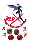 """Teen Titans RedX Iced / Icing Edible Birthday Cake Topper 7.5"""" + 8 Cupcake Tops"""