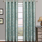 (Set of 2) Charlotte Jacquard Grommet Curtains Leafy Window Curtain Panels
