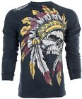 AFFLICTION Mens LONG SLEEVE T-Shirt WINDTALKER Indian Skull BLACK Biker UFC $68 image