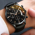 Fashion Sport Men's Stainless Steel Case Leather Band Quartz Analog Wrist Watch image
