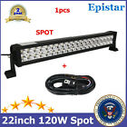 Wiring Kit+22inch 120W LED Spot Light Bar Fog Off road Tractor Boat UTE RZR 4WD