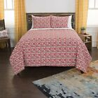 Maddux Place Lilou Red Hand Quilted Cotton Reversible 3-Piece Quilt Set image