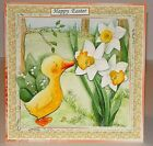 Handmade Greeting Card 3D Easter With A Duck & Daffodils