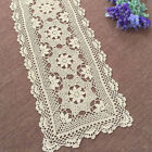 Handmade Crochet Lace Table Runner Beige Cotton Floral Pattern Table Decoration