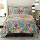 Dahlia Reversible Bed Quilt Sets Oversized Floral 3 Piece Quilted Coverlet Set image