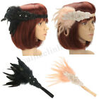 1920s Retro 20's Bridal Feather Flapper Headband Gatsby Headdress Headpiece UK