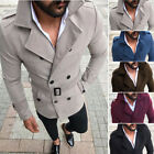Mens Winter Trench Coat Double Breasted Jacket Overcoat Winter Slim Outwear Tops