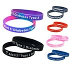 2pcs TYPE 1 2 DIABETIC Silicone Medical Alert Emergency ID Wristband Bracelet