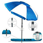 Titan 7 Foot Beach Umbrella Bundle With Two Waterproof iPhone Case and Portable