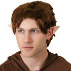 BROWN WIG AND EARS MYTHICAL MIDDLE EARTH MAN BOOK FANCY DRESS COSTUME ACCESSORY