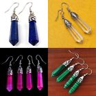 Fashion Women Girl Gemstone Hexagonal Point Healing Bead Silver Plate Earrings