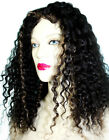 Remy Glueless Full Lace Wig Indian Human Hair Hand Tied Jerry Curl Wavy Black