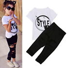 Toddler Baby Letter Print Short Sleeve T-Shirt 2Pc Set Tops+ Hole Trousers GB09