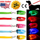 LED Light up Dog Pet Pets Night Safety Flashing Adjustable Nylon Collar Leash