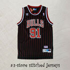 91 Dennis Rodman Chicago Bulls Black Red Stripes Sewn Retro Baseball Jersey on eBay