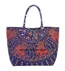 Indian Cotton Screen Printed Mandala Bag Magnet Button, Zipper, Pocket, Hand Bag