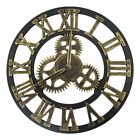 Retro 3D Wheel Gear Large Wall Clock Steampunk Roman Numeral Silent Sweep Decor
