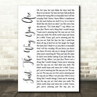 Just The Way You Are White Script Song Lyric Quote Print