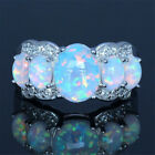 Women Handmade Ring Natural Oval Opal Silver Plated Ring Jewelry Size 5-12