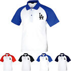 KH1001 Los Angeles LA Dodgers Raglan Polo T-Shirts Baseball Collar Uniform 0105 on Ebay