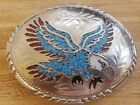 Eagle Belt Buckle Turquoise Coral Stone Inlay SSI American Eagle